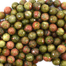 "Faceted Unakite Jasper Round Beads Gemstone 15"" Strand 4mm 6mm 8mm 10mm 12mm"
