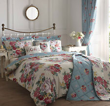 Shabby Chic Floral Blue Multi Duvet Cover Pillow Case Set + Curtains & Cushions