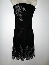 JANE NORMAN Black Strapless Sequin Embroidered Dress Size 10-12