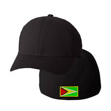 GUYANA FLAG Embroidery Embroidered Black Cotton Flexfit Hat Cap