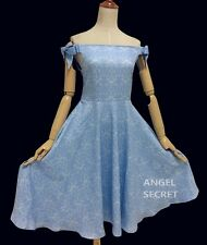 BM70 cinderella inspired dress disneybound princess off shoulder SML blue bow