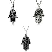 "Oxidized Finish 925 Sterling Silver Hamsa Hand Pendant w/18"" Chain Necklace"