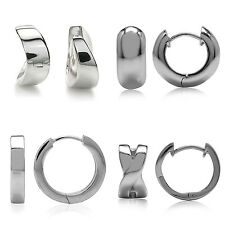 925 Sterling Silver w/White Gold Plated Huggie Hoop Earrings