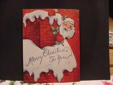 Vintage CHRISTMAS POP-UP Folder Card: SANTA Up on the Snowy Roof