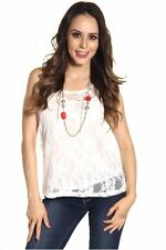 DEALZONE Fascinating Double Layer Lace Top S Small Women White Casual