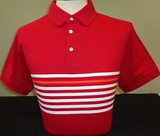 NEW MENS J. LINDEBERG MICHAEL SLIM LUX STRIPE Golf Polo Shirt, DK RED, PICK SIZE