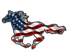 American Horse Decal USA US Flag Pony Mustang Vinyl Window Sticker (LH) C7X