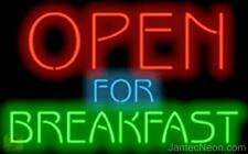 OPEN FOR BREAKFAST Genuine Neon Sign JANTEC USA  Fast Free Shipping 2 sizes