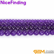 Round Purple Jade Faceted Stone Beads For Jewelry Making Loose Beads Lots 15""