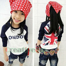 Fashion Kids Toddlers Boys Girls UK Flag London Letter Cotton Tee Tops T-Shirt