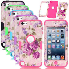 Purple Flower Pattern Matte Skin Silicone Shockproof Combo Case For iPod Touch 5
