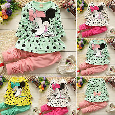 Toddler Kids Baby Girls Cute Minnie Mouse Tops Dot Dress Pants Outfits Clothes