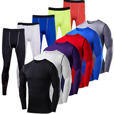 Mens Compression Long Sleeve T Shirt Base Layer Tights Long Pants Sports Workout