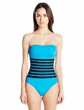 NWT Calvin Klein Mesh Inlet Bandeau Strapless One Piece Swimsuit Blue Size 6-14