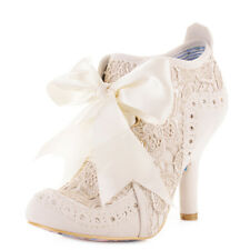 Womens Irregular Choice Abigails Party Lace Cream Ankle Boots Shoes Heels Size