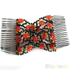 Stretch Rose Flower Bow Bead Hair Head Comb Cuff Double Insert Clips Bluelans