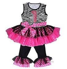 Glitter 1st Black Hot Pink Zebra Ruffled Top Pants Set Birthday Outfit