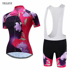TELEYI Cycling Bike Short Sleeve Clothing Women Sets Team Wear Jersey Bib Shorts