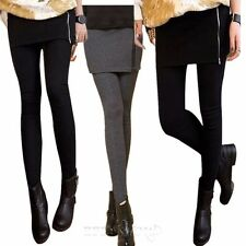 NEW Women Winter Warm Pencil Seamless Stretchy Full Length Leggings with Skirt