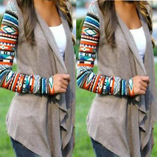 Women Long Sleeve Knitted Cardigan Loose Sweater Outwear Jacket  Irregular Coat