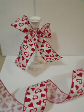 Romantique Flock Velvet Love Heart Organza Valentine - Luxury Wire Edged Ribbon