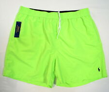 Polo Ralph Lauren Green Nylon Brief Lined Swim Trunks Black Polo Pony Mens NWT