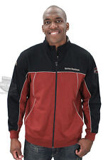 Harley-Davidson Mens B&S Mock Neck Full Zip Brick Red Long Sleeve Sweatshirt