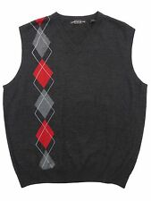 New Carnoustie Mens Golf  Merino Wool V Neck Sweater Vest Large or XL Grey