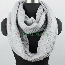 Winter Warm Soft Thick Wool Knit Infinity Loop Cowl Circle Solid Color Scarf