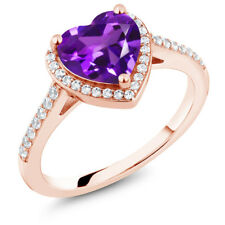 1.61 Ct Heart Shape Purple Amethyst 18K Rose Gold Plated Silver Ring