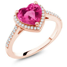 2.21 Ct Heart Shape Pink Mystic Topaz 18K Rose Gold Plated Silver Ring