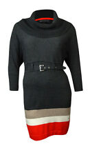 Jessica Howard Women's Belted Cowl Neck Colorblocked Sweater Dress