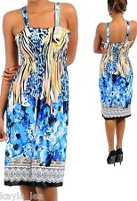 Blue Floral/Tiger/Zebra Smocked Bust Tube/Tank Dress M/L/XL