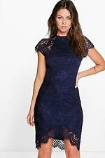 Boohoo Womens Boutique Leah Eyelash Lace Curved Hem Bodycon Dress