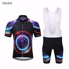 TELEYI Men Cycling Jersey Outdoor Clothing Wear Sports Padded Bib Shorts Suit