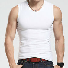 MENS PLAIN VESTS FITTED COTTON GYM TRAINING TANK TOP T SHIRTS NEW CASUAL TOPS