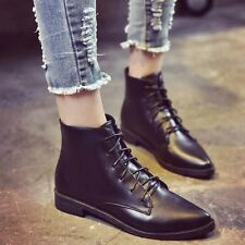 Women's Pointy Toe Ankle Boots Lace Up Booties Lady Low Cuban Heel Shoes Size
