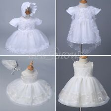 Floral Lace Christening Dress Infant Baby Baptism Gown Party Tutu Dress 3M-24M
