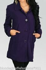 Purple Button Front Fleece Jacket/Peacoat/Coat