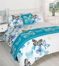 Polilla Butterfly Teal Blue Complete 5pc Bed In A Bag Duvet Cover Bedding Set
