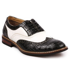 Ferro Aldo Black White  Lace up Wingtip Oxford Dress Shoes MFA-139001B
