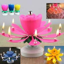 Musical Lotus Flower Rotating Happy Birthday Party Gift Decor Candle Light PS