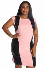DEALZONE Grogeous Embossed Dress 1X Women Plus Size Pink Cocktail Knee-Length