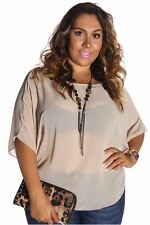 DEALZONE Gorgeous Butterly Sleeve Top 1X Women Plus Size Beige Casual