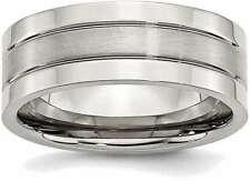 Stainless Steel Grooved 8mm Satin and Polished Band Ring