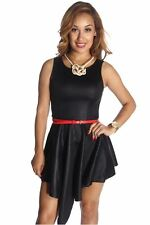 DEALZONE Fascinating Handkerchief Hem Dress S Small Women Black Versatile