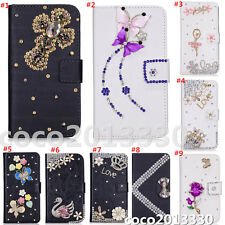 Magnetic Bling Luxury Diamonds Crystal PU Leather wallet flip Stand Cover Case F