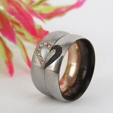 Couple Love Heart Stainless Steel Wedding Bands Promise Rings Romantic Jewelry