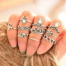 10 PC Women Punk Vintage Knuckle Rings Tribal Ethnic Hippie Stone Joint Ring Set