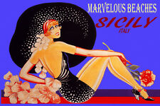 SICILY ITALY MARVELOUS BEACHES FASHION GIRL BIG HAT TRAVEL VINTAGE POSTER REPRO